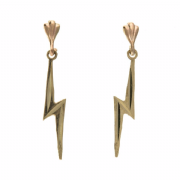 9ct gold lightening bolt Stud drop Earrings